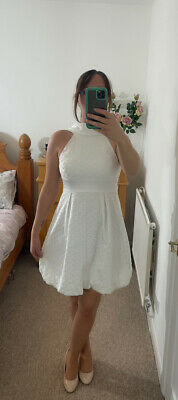 £50 • Buy Karen Millen White Anglais Backless Bow Summer Occasion Dress Size 12