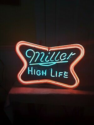 """$429.99 • Buy Vintage MILLER HIGH LIFE FLASHING NEON Sign - 21.5x 16.5"""" X 4  Working Condition"""