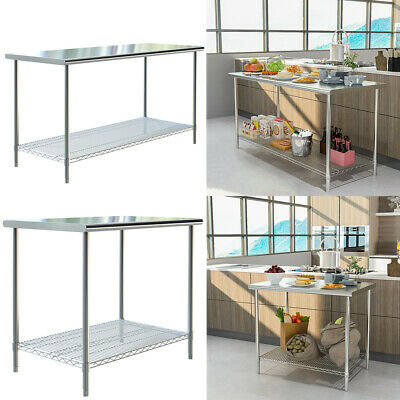 £85.95 • Buy Commercial Stainless Steel Top Kitchen Catering Table Work Bench Wire Prep Shelf