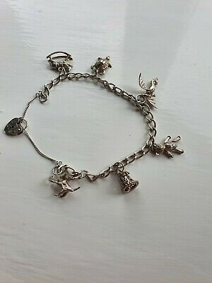 Vintage Sterling Silver Charm Bracelet With 6 Charms • 30£