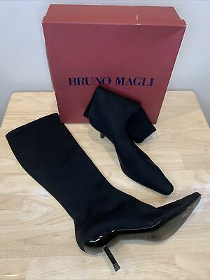 £112.14 • Buy Bruno Magli Black Knee High Boots Pull Ons Pointy Toe Kitten Heel Size 10 B