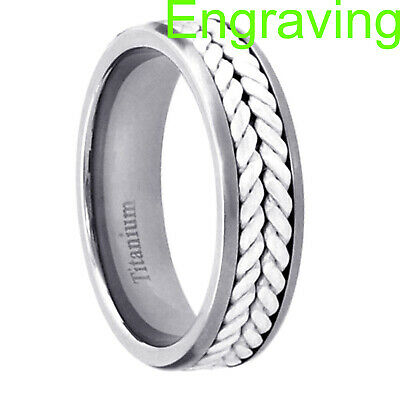 $16.99 • Buy Titanium 6mm Band Duo Sterling Silver Rope Inlay Men's Eternity Wedding Ring