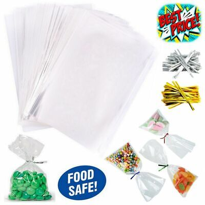 £1.69 • Buy Clear Cellophane Sweet Pop Gift Hamper Food Wrap Bag Large Small Cello With Ties