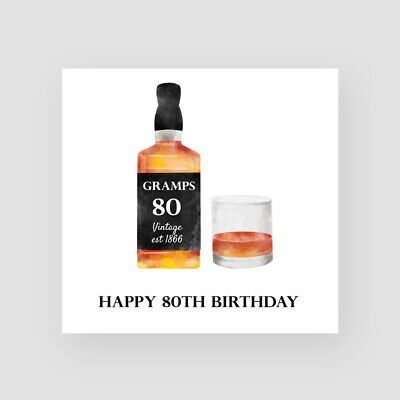 £3.45 • Buy Personalised Handmade 80th Birthday Card - For Him, Whisky ANY NAME/AGE