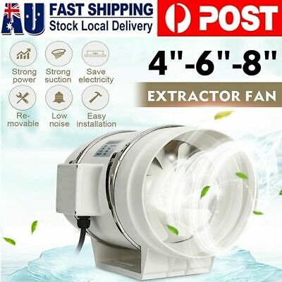AU49.99 • Buy 4/6/8  Inch Silent Extractor Fan Duct Hydroponic Inline Exhaust Vent Ventilation