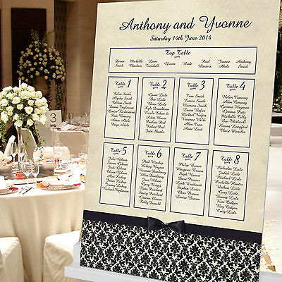 £39.99 • Buy Personalised Damask Design Wedding Seating Table Plan ~Canvas~Board~Paper~