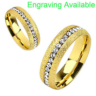$11.99 • Buy Gold Plated Stainless Steel Round Cubic Zirconia Eternity Men Women Wedding Ring