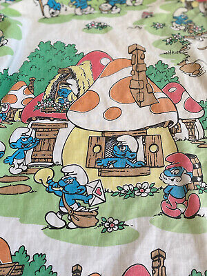 Vintage 1980s Smurf Full-size Fitted Bed Sheet Fabric- Peyo • 7.24£