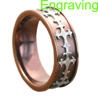 $12.99 • Buy 8mm Coffee Gold EP Titanium Silver EP Celtic Scroll Inlay Men's Wedding Ring