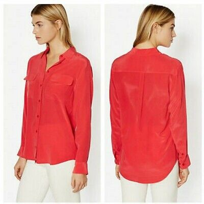 £25.86 • Buy Equipment Signature Washed Silk Shirt Red Women Button Down Long Sleeve L
