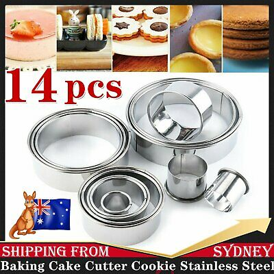 AU13.98 • Buy 14x Baking Cake Cutter Cookie Stainless Steel Round Fondant Biscuit Mold Pastry