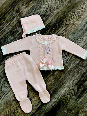 £14.99 • Buy Baby Girl Pink Spanish Traditional 3 Piece Knitted Pram Set NB 0-3 Months 3-6M