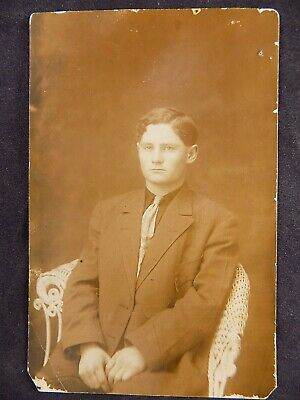 $0.99 • Buy Antique PHOTO CORRESPONDENCE POST CARD Young Man In Suit Sitting On Wicker CHair