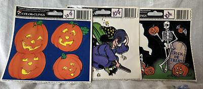 $ CDN14.62 • Buy Vintage Halloween Static Cling Window Decorations - Witch, Black Cat, Ghost 1988
