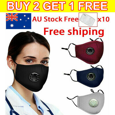 AU8.99 • Buy Washable Reusable Cotton Fabric Face Mask With Valves & 5X Free PM 2.5 Filters