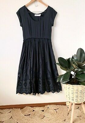 AU40 • Buy ALICE MCCALL Navy Broderie Anglaise Midi Dress Sz 10 | Ex Cond