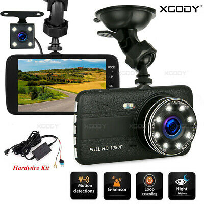 AU42.99 • Buy XGODY 4  1080P Car Dash Camera Front And Rear Camera Parking Mode W/Hardwire Kit