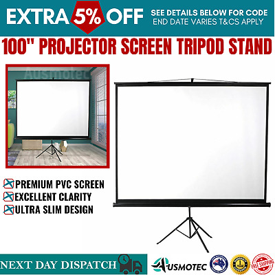 AU93.56 • Buy 100 Inch Projector Screen Tripod Stand Home Pull Down Cinema 3D Outdoor Screens