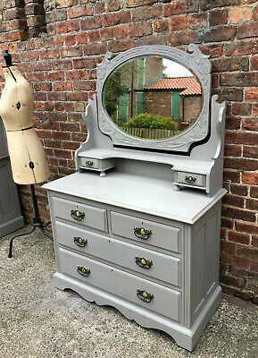 £345 • Buy French Linen Painted & Distressed Antique Dressing Chest With Large Swing Mirror