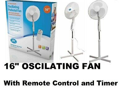 £29.95 • Buy 16 Oscillating Height Adjustable 3-Speed Pedestal Fan With Remote Control &Timer