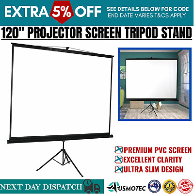 AU125 • Buy 120 Inch Projector Screen Motorised Retractable Tripod Stand 3D Cinema Home AU
