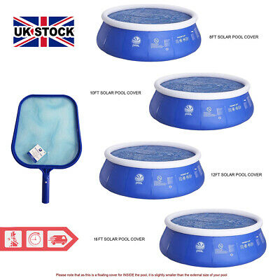 £19.99 • Buy Solar Swimming Pool Cover  With Flat Pool Leaf Debris Skimmer 8, 10, 12 & 15ft
