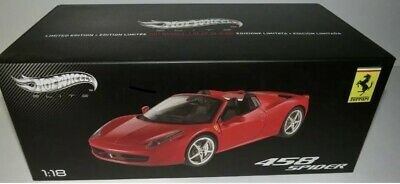 FERRARI 458 SPIDER RED ROSSO CORSA & BLACK 1:18 HOT WHEELS ELITE No BBR LBW MR • 108.40£