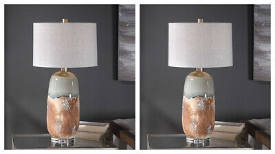 £508.12 • Buy Two Maggie Xl 30  Earthy Rust Two Tone Ceramic Table Lamp Uttermost 26381