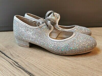 Girls Silver Glitter Low Heel Tap Dance Shoes With Tap Plates By Katz. Size 1. • 9.50£