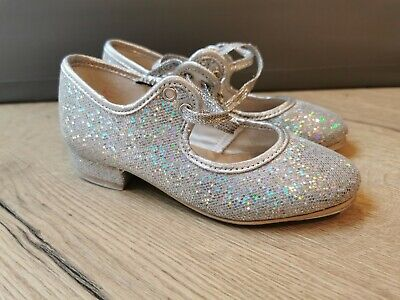 Girls Silver Glitter Low Heel Tap Dance Shoes With Tap Plates By Katz. Size 10. • 9.50£