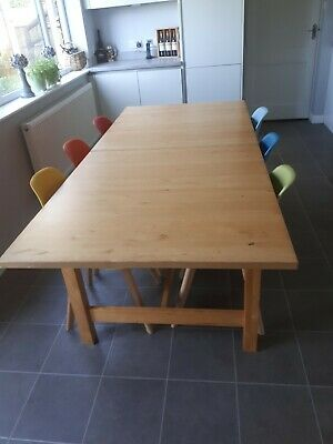 Ikea Norden Large Solid Wood Dining Table Seats 8 Used - Perfect Upcycle Project • 18£