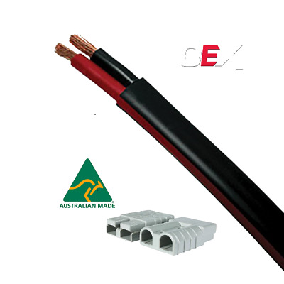 AU44.95 • Buy Automotive Twin Sheath Cable, Black / Red  6mm With TWO 50amp Anderson Plugs 10M