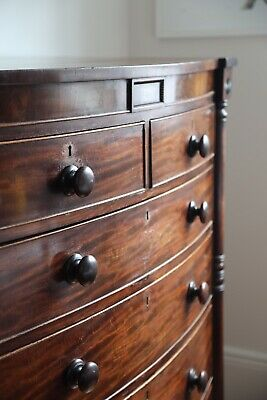 AU1100 • Buy Showstopper Antique Mahogany Bow Fronted Tallboy Chest Of Drawers