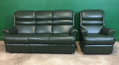 Sherborne 3 Piece LeatherSofa  Suite Recliner Green. Courier Available • 365£