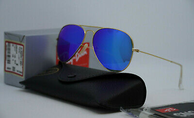 AU104.99 • Buy Ray Ban RB3025 Aviator 112/17 58mm Blue Mirror Flash Lens Gold Frame Sunglasses