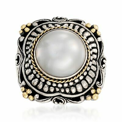 $186.75 • Buy 13mm Cultured Mabe Pearl Ring In Sterling Silver And 14kt Yellow Gold