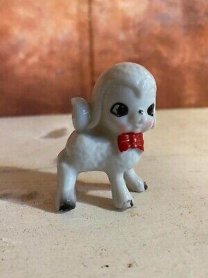 £12 • Buy 1960s Retro White Poodle Dog Ornament With Red Bow