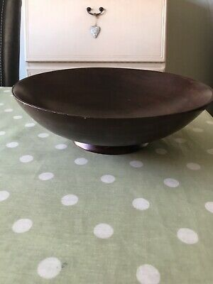 £10 • Buy Vintage Style Dark Wooden Shallow Fruit/ Display Footed Decorative Bowl