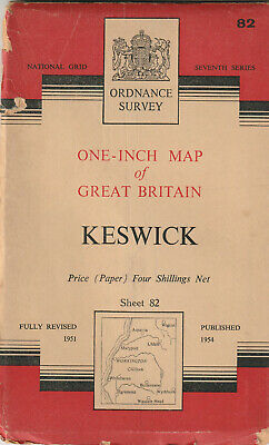 Ordnance Survey One-Inch Map - Sheet 82 - Keswick - Published 1954 • 2.50£
