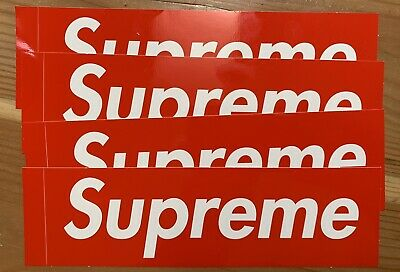 $ CDN4.08 • Buy Supreme Red Box Logo Sticker Decal Large 7.5  X 2.25  W/ Peel Edge - Set Of 4