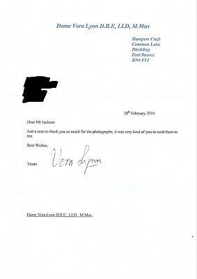 £10 • Buy Dame Vera Lynn - English Singer   'Forces Sweetheart'  - Hand Signed Letter