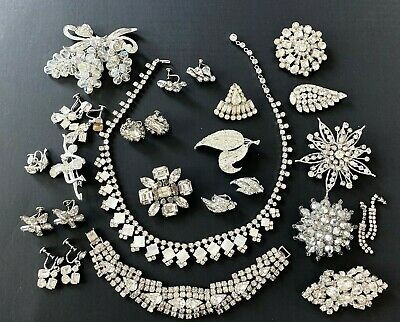 $ CDN41.43 • Buy Vintage Clear Rhinestone Jewelry Lot 19 Earrings Foiled Pins Necklace Sarah Cov