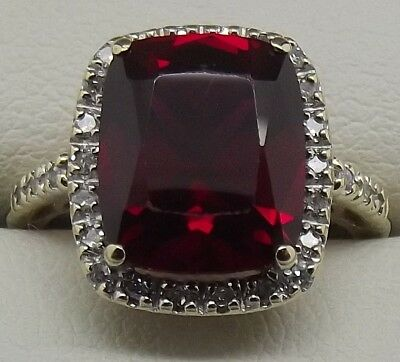 AU354 • Buy Solid 9ct Yellow Gold Natural Diamond & Red Stone Dress Ring - Size L