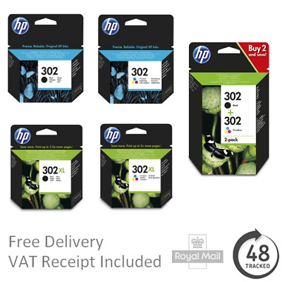 Original HP 302 Black & Colour Ink Cartridges - Std/XL Capacity - DeskJet 3630 • 25£
