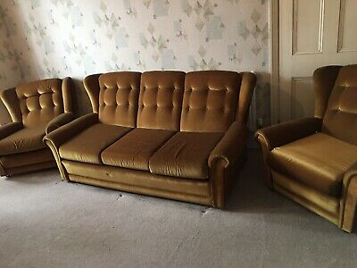 Retro 3 Piece Suite With Built In Sofabed Vintage 1970 Olive Gold Highback • 149.99£
