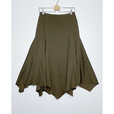 PERUVIAN CONNECTION A-Line Godet Skirt Pull-On Pima Cotton Brown Size Small • 25.46£