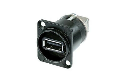 Neutrik NAUSB-W-B Reversible USB 2.0 Feed Through Adapter Chassis Mount In Black • 5.50£