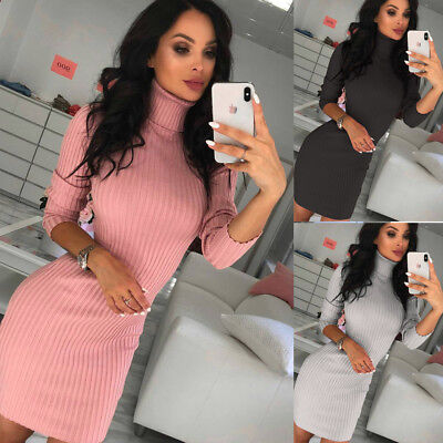 AU16.39 • Buy Sexy Women Knitted Long Sleeve Dress Bodycon Jumper Sweater Tunic Pullover Dress