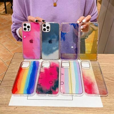 AU8.98 • Buy Watercolor Glitter Clear Hard Case Cover For IPhone 12 XR 11 Pro Max XS 8 7 Plus