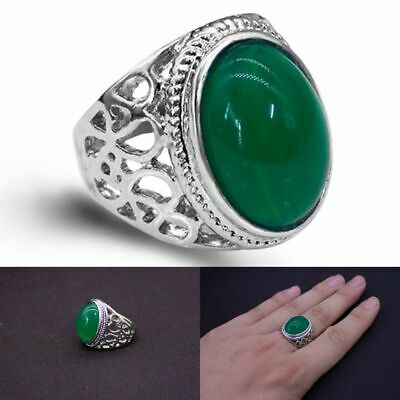 £11.76 • Buy Mens Silver Natural Real Green Jade Stone Ring For Men Size 7 To11 Accessory New